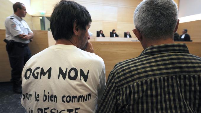 Des faucheurs volontaires attendent dans la salle d'audience du tribunal correctionnel de Toulouse, le 4 septembre 2008, lors du procès des 40 faucheurs volontaires et du leader altermondialiste José Bové, poursuivi pour destruction de maïs OGM en 2006 en Haute-Garonne. Une peine de 180 jours-amende à 100 euros a été prononcé ce jour par le tribunal correctionnel contre M. Bové. Quatre autres faucheurs volontaires ont écopé de 120 jours-amende de même somme tandis que des peines d'un à deux mois d'emprisonnement avec sursis ont été prononcées contre tous les autres prévenus poursuivis pour l'arrachage de plusieurs hectares de maïs transgénique en juillet 2006 à Ox et Daux, à l'ouest de Toulouse. AFP PHOTO REMY GABALDA (Photo by REMY GABALDA / AFP)